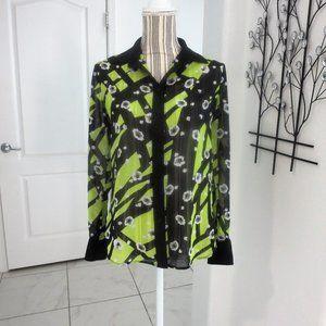 Anne Klein Chiffon Long Sleeve Blouse Chartreuse